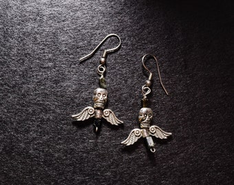 Winged Skull with Jet beads