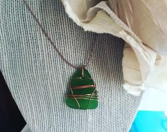 Green Seaglass Copper Necklace