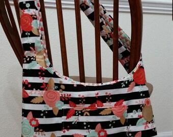 Reversible Sling Bag Triangle/Stripe Floral