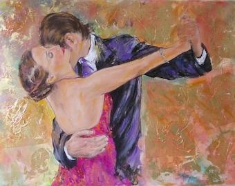 30% OFF-SALE Original  Tango painting,figurative painting,tango art,tango painting,couple dancing tango, gold leaf, romantic,modern painting