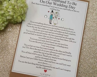 To My Groom, To My Groom On Our Wedding Day, Husband To Be On Our Wedding Day, Personalised Card with Verse, Groom Gift