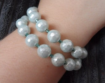 Shell Pearl and Crystal Wrap Bracelet
