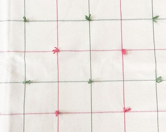 1 Yard Green and Pink Plaid on Off White Background Fabric