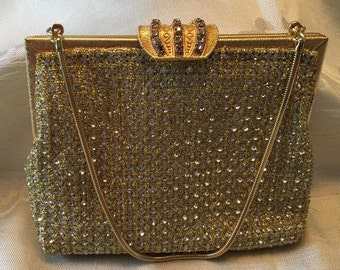 Vintage gold jeweled evening bag