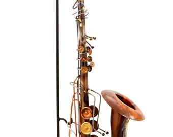 Home Decor Handmade Saxophone Entrance Feature Rust Look