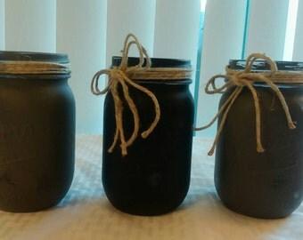 3 pc Pint Mason Jars Black and Gray