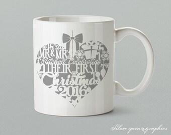 "Mr & Mr ""Surname"" Celebrating Their First Christmas 2017 – Personalised Christmas Gift Mug"
