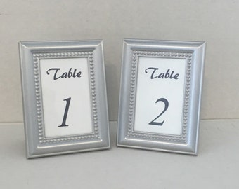 Framed silver table number set/Beautiful silver beaded table numbers