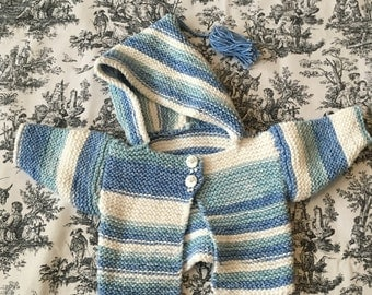 Blue and White Stripe Baby Cardigan