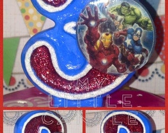 "Avengers 3"" Custom Birthday Candle"