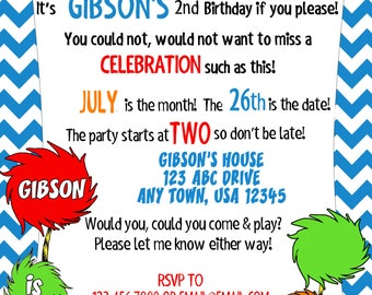 Blue Lorax Birthday Invitation