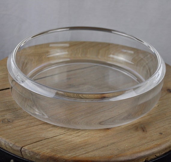Midcentury Space Age Strombershyttan Large Crystal Bowl