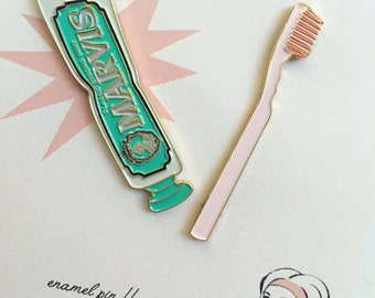 Marvis Toothpaste & Toothbrush Enamel Pin Duo