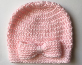 Pink Bow Baby Hat