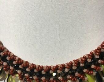 Earth tone dagger necklace