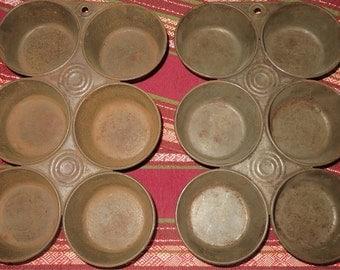 Rustic Muffin Tins Vintage Pair Baking Pans