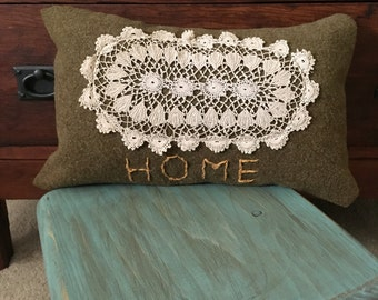 Wool & Doily Hand Embroidered Pillow