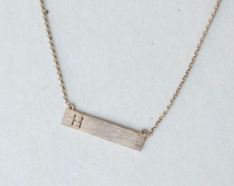 Personalized custom Initial bar necklace