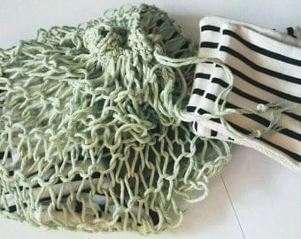 wash knitted NET, recycled 100% cotton