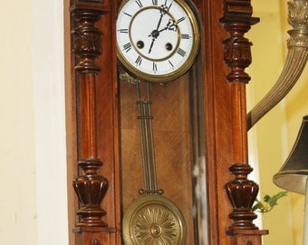 Beautiful Carved Walnut German Spring Driven Regulator Wall Clock C1880