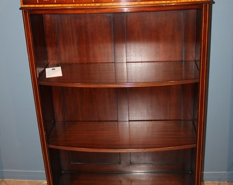 Rare Inlaid Bellflower Mahogany Sheraton Low Bookcase Book Shelf MINT