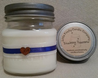 Blueberry Preserves Soy Candle. Housewarming candle. Teacher gift. 8 oz soy candles. Free shipping! Handmade in Apex, NC