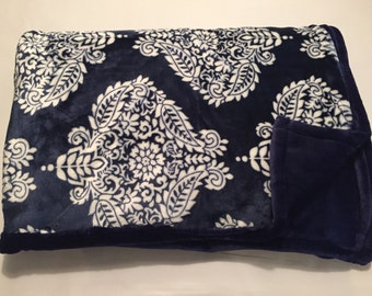 Blue and white damask blanket