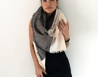 ONUMA Beige  Gray Handmade Scarf