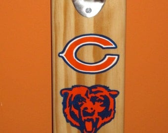 Chicago Bears Wall Mounted Wooden Bottle Opener with Magnetic cap catcher bottle cap catcher opener