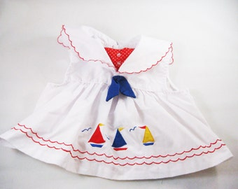 Vintage Nautical Sailor Blouse, Baby Girl 12 Months