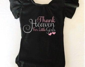 Leotard girls toddler flutter sleeve gift personalized glitter Thank Heaven for little girls dancewear dancing gymnastics gymnast custom