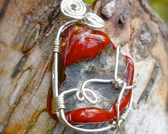 Agate Stone Silver Wire Wrapped Pendant Necklace, Unique Minimalist Mother Earth Boho Jewelry, One of a Kind Nature Inspired Handcrafted
