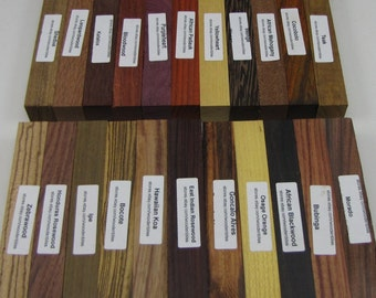 "22 Different Exotic Wood Pen Blanks 3/4"" x 5"" Cocobolo, Zebrawood, Bocote, Koa M-22"