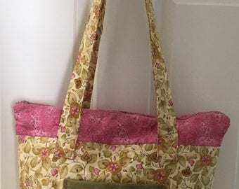 Pink and Cream Floral Purse