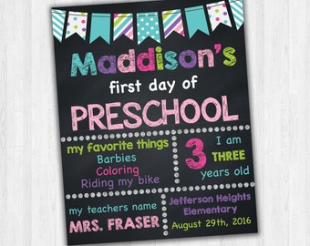 Preschool Signs, First Day Of School, 1st Day Of Preschool, Back To School Signs, Grade School Signs, Printable Photo Prop, Kids School Sign
