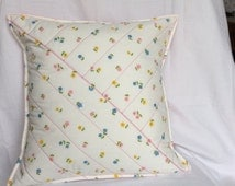 Vintage Floral Quilted Cushion Cover