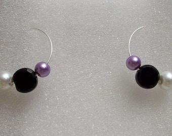 Pearl and Glass Bead Hoop Earrings