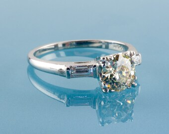 Vintage 1940s Platinum Diamond Engagement Ring, 1.00 Ct Natural Fancy Light Yellow, GIA Certified