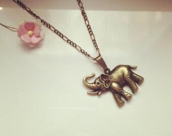 Long necklace with elephant, animal, animals, elephant