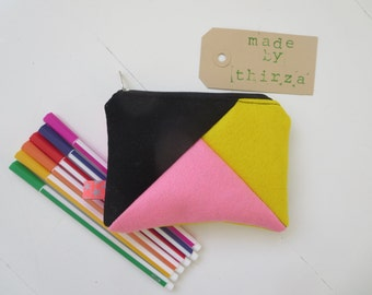 Handmade 100% wool felt wallet in pink and yellow