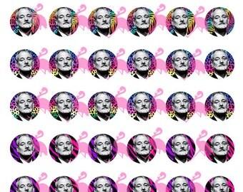 "Bill Murray Animal Print Digital Collage Sheet, 1"" Circles"
