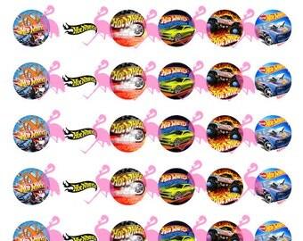 "Hot Wheels Digital Collage Sheet, 1"" Circles"