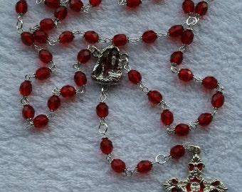 Ruby red glass Rosary