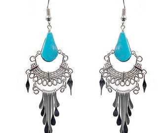 Colita Dangle Stone Earrings Turquoise