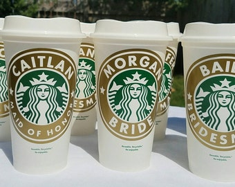 Bridal Party Personalized Reusable Starbucks Coffee Cup