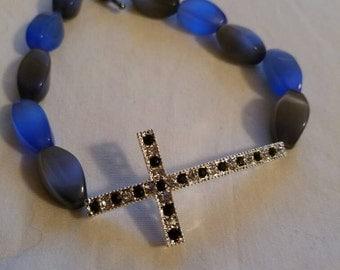 Cats eye cross bracelet