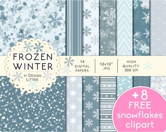 Christmas digital papers /8 FREE clipart/ · background snowflakes clipart PNG, blur · Instant download