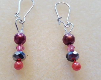 Maroon beaded earrings with dark pink pearl and crystal accents