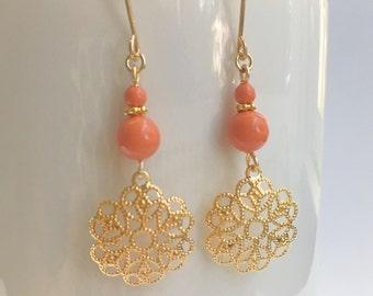 Filigree Earrings, Swarovski Pearl Earrings, Coral Pearl Earrings, Gold Filigree Flower Earrings, Swarovski Coral Earrings,Bridesmaid