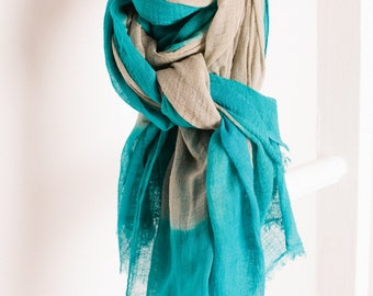 Ombre Cotton Scarf - Turquoise, Quality, Hand-Dyed, Pink, Tie-Dye, Stunning, Unique, Trending, Scarves, Colourful, Detail, Fashion C370